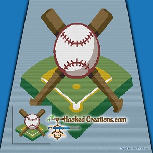 Baseball Diamond SC (Single Crochet) Throw Blanket Graphghan Crochet Pattern