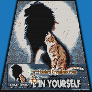 Believe Cat SC (Single Crochet) Throw Blanket Graphghan Crochet Pattern