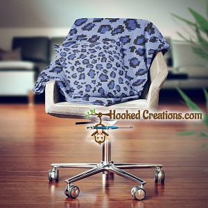 Blue Leopard SC (Single Crochet) Throw Blanket and Pillow Set Graphghan Crochet Pattern - PDF Download