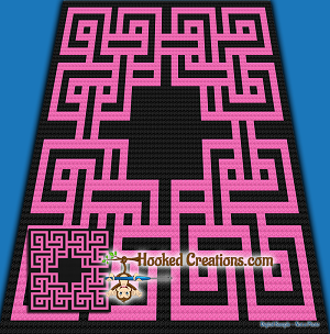 Celtic Knot C2C (Corner to Corner) Throw Sized Blanket Graphghan Crochet Pattern - PDF Download