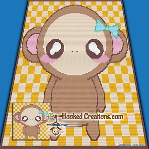 CHIBI MONKEY TSS (Tunisian Simple Stitch) Right Handed Baby Blanket Graphghan Crochet Pattern - PDF Download