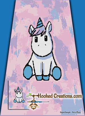 Chibi Unicorn SC (Single Crochet) Twin Blanket Graphghan Crochet Pattern