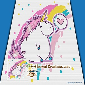 Chubby Unicorn Love SC (Single Crochet) Throw Blanket Graphghan Crochet Pattern - PDF Download