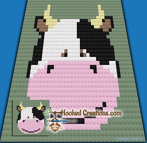 Cow Face C2C (Corner to Corner) Baby Sized Blanket Crochet Pattern