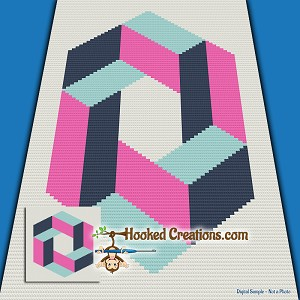 Cubic Mini C2C (Modified Corner to Corner) Throw Sized Blanket Graphghan Crochet Pattern - PDF Download