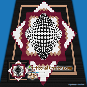 Dimensions TSS (Tunisian Simple Stitch) - Right Handed Throw Blanket Graphghan Crochet Pattern