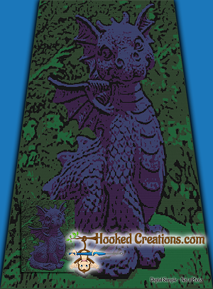 Dragon in the Garden SC (Single Crochet) Twin Sized Blanket Graphghan Crochet Pattern - PDF Download