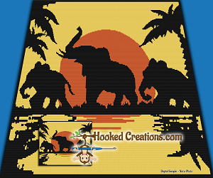 Elephant Sun Set SC (Single Crochet) Throw Blanket Graphghan Crochet Pattern