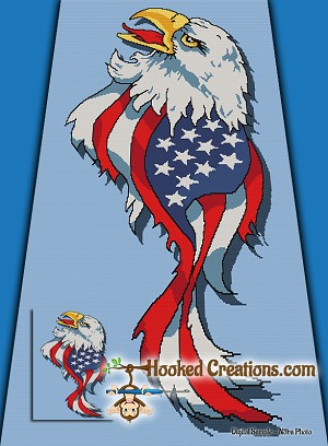 Flight of America SC (Single Crochet) Twin Blanket Graphghan Crochet Pattern - PDF Download