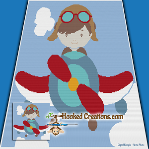 Flying Through the Sky SC (Single Crochet) Throw Blanket Graphghan Crochet Pattern - PDF Download