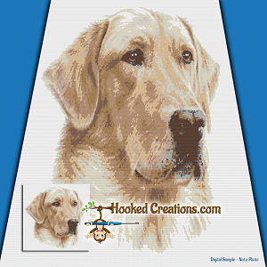 Golden Lab SC (Single Crochet) Throw Blanket Graphghan Crochet Pattern