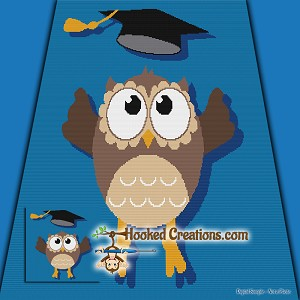 Graduation Owl SC (Single Crochet) Throw Blanket Graphghan Crochet Pattern - PDF Download