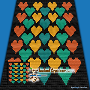 Hearts C2C (Corner to Corner) Throw Blanket Graphghan Crochet Pattern - PDF Download