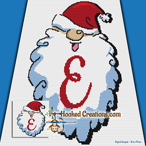 HoHoHo Alphabet-E SC (Single Crochet) Baby Blanket Graphghan Crochet Pattern - PDF Download