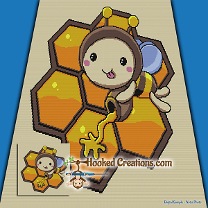 Honey Bee SC (Single Crochet) Throw Blanket Graphghan Crochet Pattern - PDF Download
