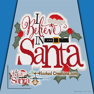 I Believe in Santa SC (Single Crochet) Throw Blanket Graphghan Crochet Pattern - PDF Download