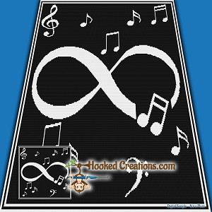 Infinity Music SC (Single Crochet) Baby Blanket Graphghan Crochet Pattern - PDF Download