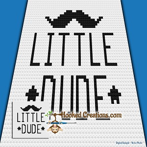 Little Dude C2C (Corner to Corner) Baby Blanket Graphghan Crochet Pattern - PDF Download