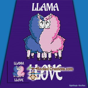 Llama Llove SC (Single Crochet) Throw Blanket Graphghan Crochet Pattern - PDF Download