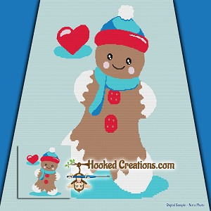 Love for Gingerbread SC (Single Crochet) Throw Blanket Graphghan Crochet Pattern - PDF Download