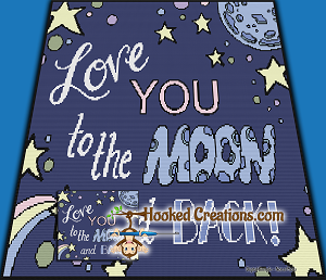 Love you to the Moon and Back TSS (Tunisian Simple Stitch) Right Handed Throw Blanket Graphghan Crochet Pattern - PDF Download