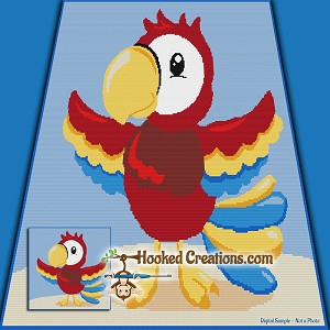 Macaw SC (Single Crochet) Throw Blanket Graphghan Crochet Pattern - PDF Download