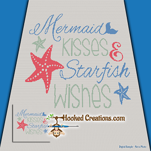 Mermaid Kisses SC (Single Crochet) Throw Size Blanket Crochet Pattern