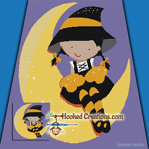 Moon Witch SC (Single Crochet) Throw Blanket Graphghan Crochet Pattern - PDF Download
