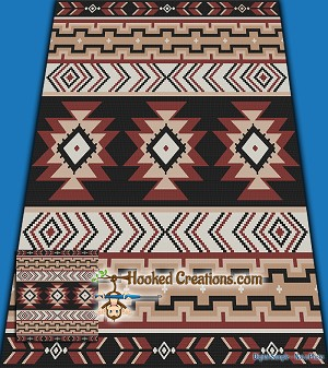 Navajo Inspired SC (Single Crochet) Full Size Blanket Graphghan Crochet Pattern