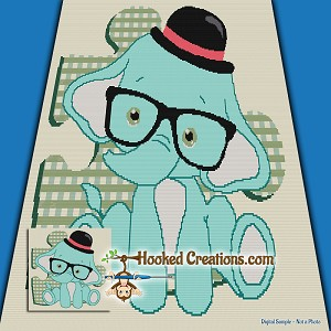 Nerdy Elephant SC (Single Crochet) Throw Sized Blanket Graphghan Crochet Pattern - PDF Download