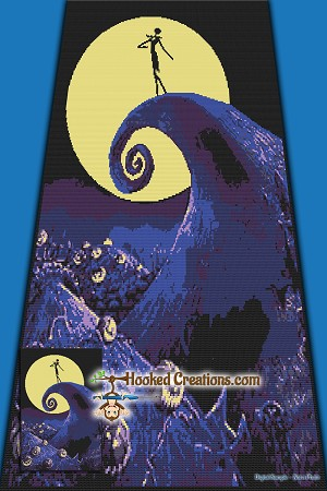Nightmare Hill SC (Single Crochet) Throw Sized Blanket Graphghan Crochet Pattern - PDF Download