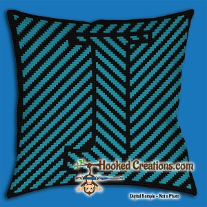 OPTICAL ALPHABET – J SC (Single Crochet) Throw Pillow Graphghan Crochet Pattern - PDF Download
