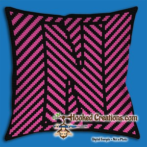 OPTICAL ALPHABET – N SC (Single Crochet) Throw Pillow Graphghan Crochet Pattern