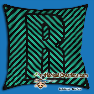 OPTICAL ALPHABET – R SC (Single Crochet) Throw Pillow Graphghan Crochet Pattern - PDF Download