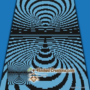 Optical Drip Mini C2C (Modified Corner to Corner) Throw Blanket Graphghan  Crochet Pattern - PDF Download