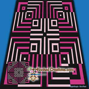 Optical Fate SC (Single Crochet) Throw Blanket Graphghan Crochet Pattern - PDF Download