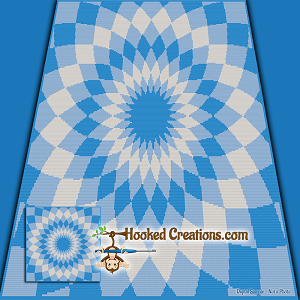 Optical Flower SC (Single Crochet) Throw Sized Blanket Graphghan Crochet Pattern - PDF Download