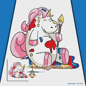 Painting Unicorn SC (Single Crochet) Throw Blanket Graphghan Crochet Pattern - PDF Download