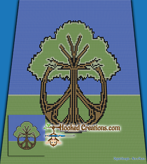 Peace Tree C2C (Corner to Corner) Queen Sized Blanket Graphghan Crochet Pattern - PDF Download