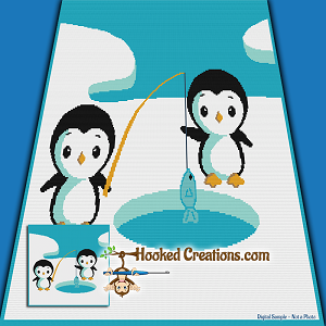 Penguin Ice Fishing SC (Single Crochet) Throw Blanket Graphghan Crochet Pattern - PDF Download