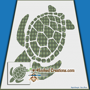 Plaid Turtle SC (Single Crochet) Throw Blanket Graphghan Crochet Pattern - PDF Download