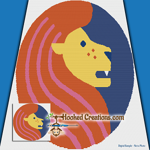 Pop Art Leo SC (Single Crochet) Throw Blanket Graphghan Crochet Pattern - PDF Download