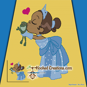 Princess and the Frog SC (Single Crochet) Twin Blanket Graphghan Crochet Pattern - PDF Download