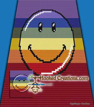 Rainbow Smiley C2C (Corner to Corner) Throw Blanket Graphghan Crochet Pattern - PDF Download