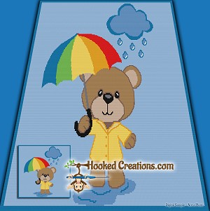 Rainy Day Teddy SC (Single Crochet) Throw Blanket Graphghan Crochet Pattern - PDF Download