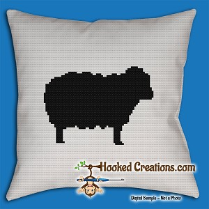 Sheep SC (Single Crochet) Throw Pillow Graphghan Crochet Pattern - PDF Download
