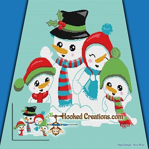 Snow Family TSS (Tunisian Simple Stitch) Right Handed Throw Blanket Graphghan Crochet Pattern - PDF Download