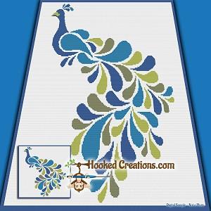 Stencil Peacock Sc Throw Blanket Crochet Pattern Pdf Download