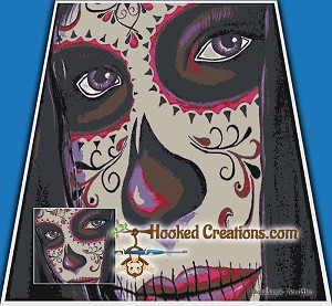 Sugar Skull Girl SC (Single Crochet) King Blanket Graphghan Crochet Pattern - PDF Download