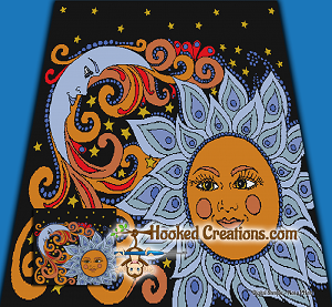 Sun N Moon Mandala SC (Single Crochet) King Sized Blanket Graphghan Crochet Pattern - PDF Download